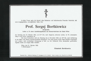Bortkiewicz' death announcement