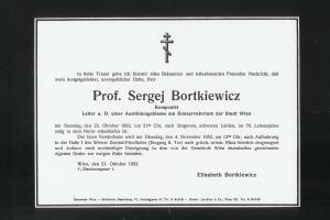 Bortkiewicz' death announcement
